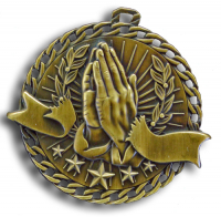 "2"" Religion/Praying Hands ""Banner Ribbon Burst"" Medallion"