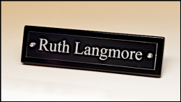 Black Piano-Finish Desk Nameplate with Acrylic Engraving Plate