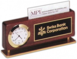 2 3/8 x 5 7/8-inch Clock and Business Card Holder