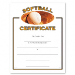 Softball Certificate