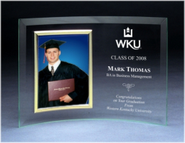 "7"" x 10"" Beveled Glass Crescent w/Photo Frame"