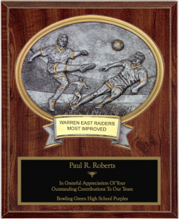 Male Soccer Oval Plaque