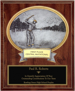 Male Golf Oval Plaque