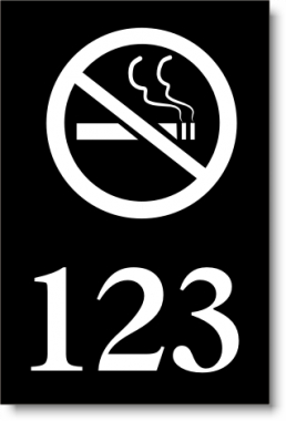 "2"" x 3"" Numbered Door Sign w/No-Smoking Icon"