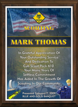 "9"" x 12"" Scouting Appreciation Plaque"