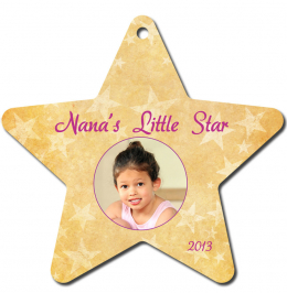 Star Aluminum Color Imprinted Christmas Tree Ornament