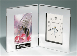 "6-1/4"" x 8-1/4"" Silver Aluminum Combination Clock and Photo Frame"