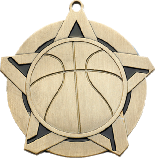 "2-1/4"" Basketball Star Medallion - 43020-NR"