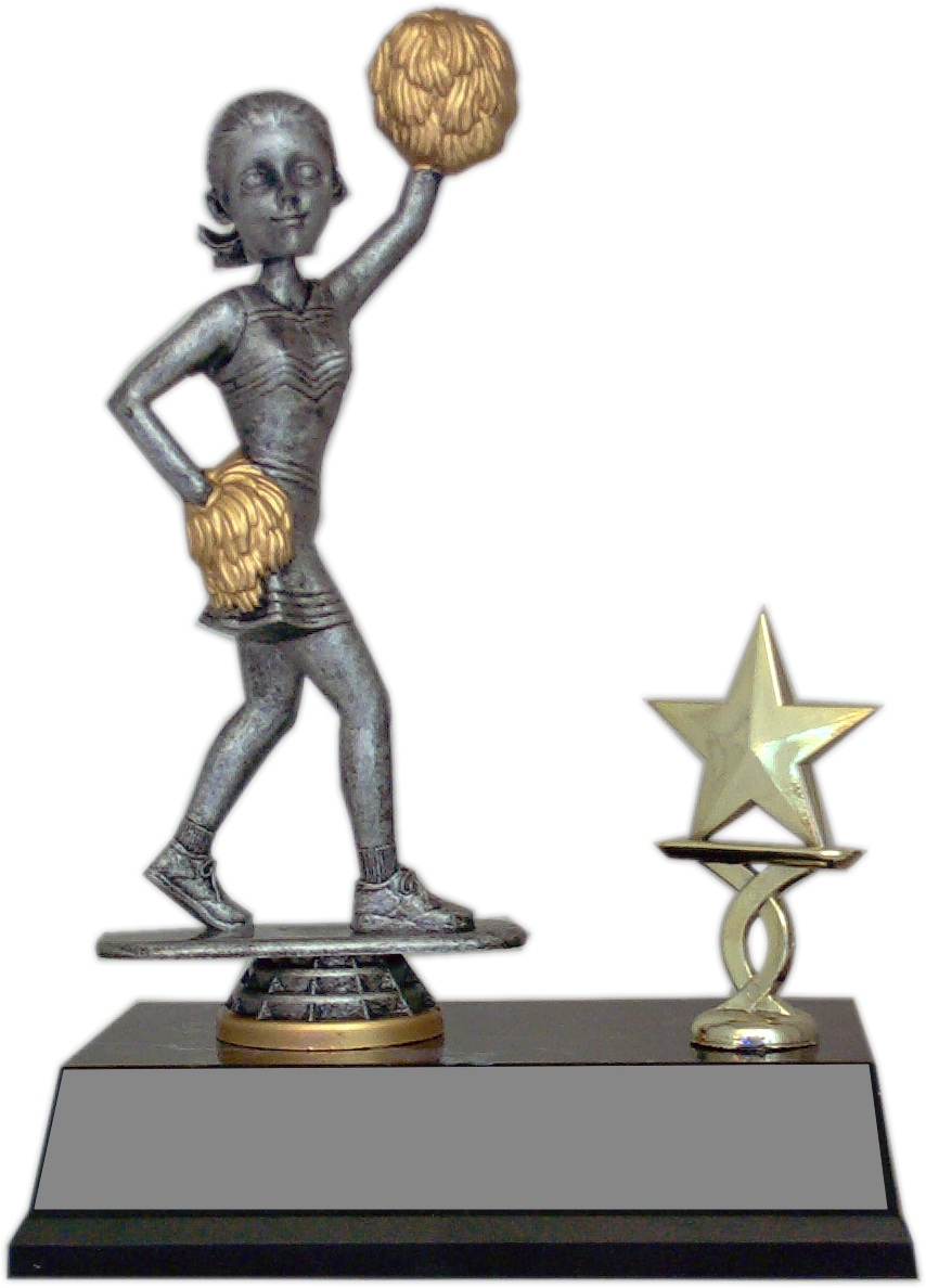 Bobble Head Trophy w/Trim - Cheerleader - BHT53-CH