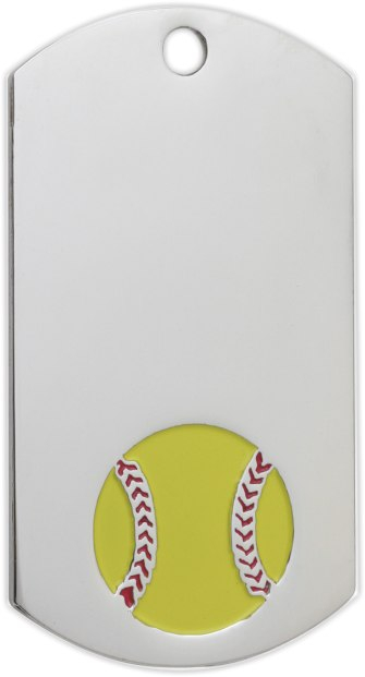 Softball Dog Tag Key Ring - DT39131-KR