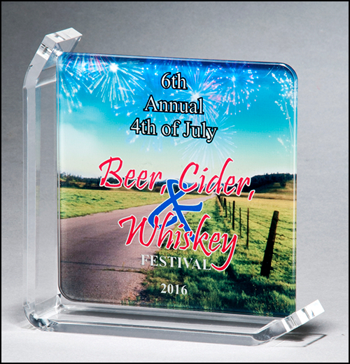 xxxColor Imprinted Glass Awards with Acrylic Stand - G3002-G3179