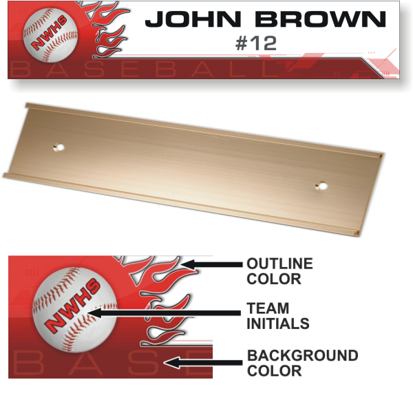 Baseball Locker Plate - LP102-BA