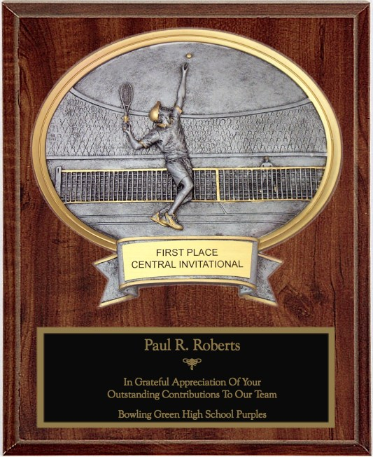 Male Tennis Oval Plaque - OP54615
