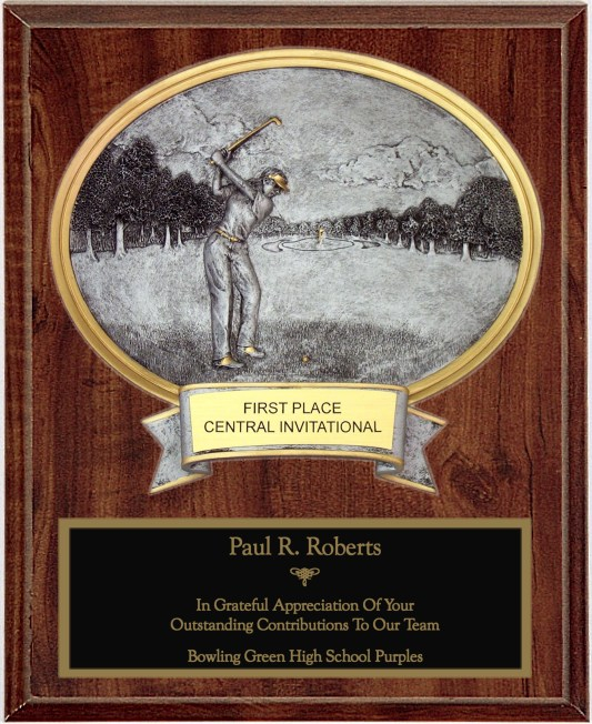Female Golf Oval Plaque - OP54622