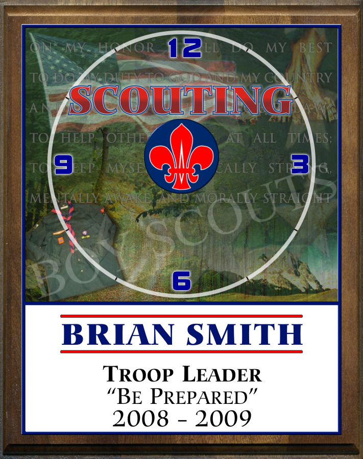 "8"" x 10"" Boy Scout Clock - PC810-BS"