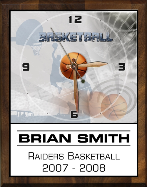 "8"" x 10"" Basketball Clock - PC810-RB"
