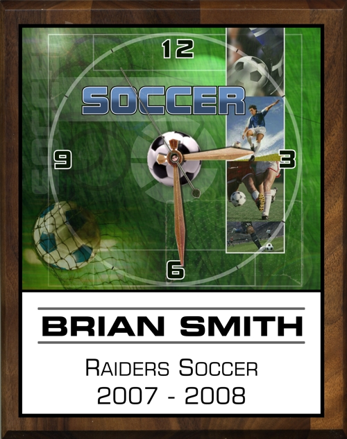 "8"" x 10"" Soccer Clock - PC810-SO"