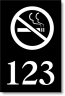 "2"" x 3"" Numbered Door Sign w/No-Smoking Icon - PDN23-NS"