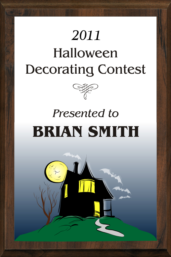 xxxColor Halloween Decorating Contest Plaque