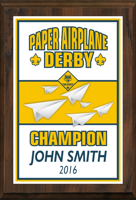 xxxCub Scout Color Paper Airplane Derby Plaque