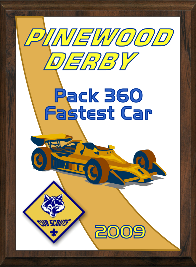 xxxCub Scout Color Pinewood Derby Plaque