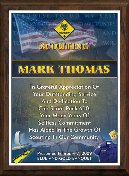 xxxScouting Appreciation Plaque - SP912-SA