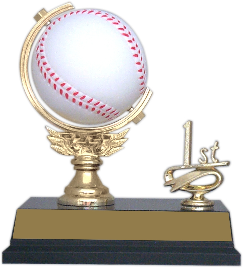 "6-inch ""Baseball Spinner with Side Trim"" Trophy - SPN53-BA"