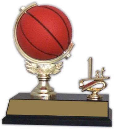 "6-inch ""Basketball Spinner with Side Trim"" Trophy - SPN53-RB"