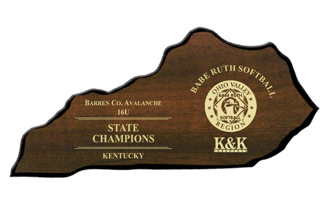 "5 1/4"" x 11"" Kentucky-shaped Plaque - STKY301"
