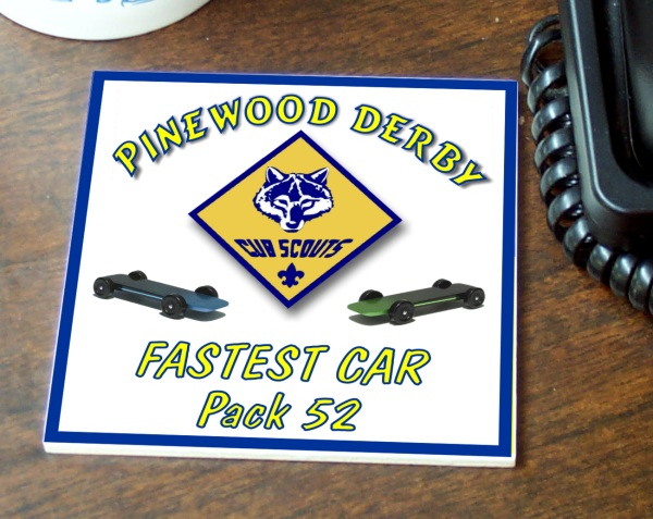 Color Imprinted Ceramic Pinewood Derby Tile/Coaster - TILE-44-CS2