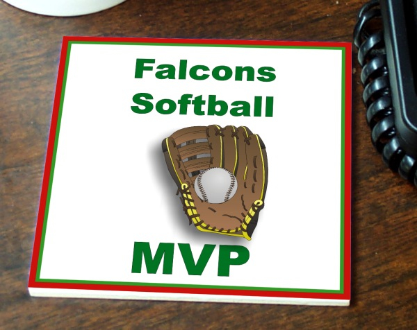 Color Imprinted Ceramic Softball Tile/Coaster - TILE-44-SB1