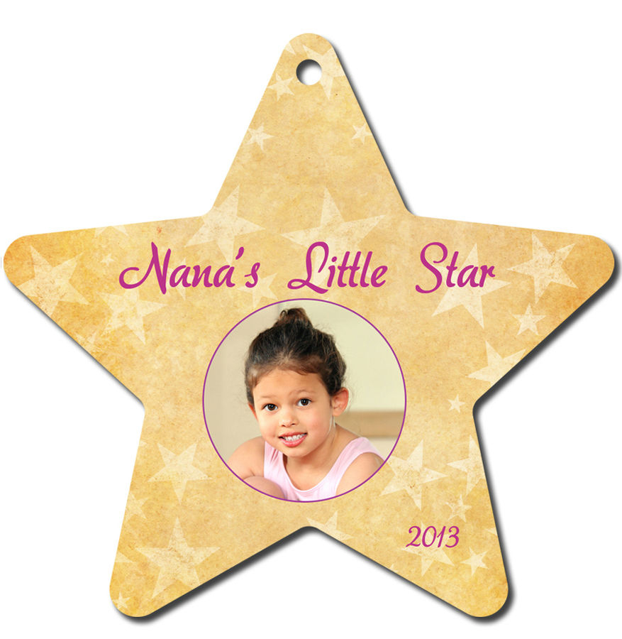 Star Aluminum Color Imprinted Christmas Tree Ornament - UN4331