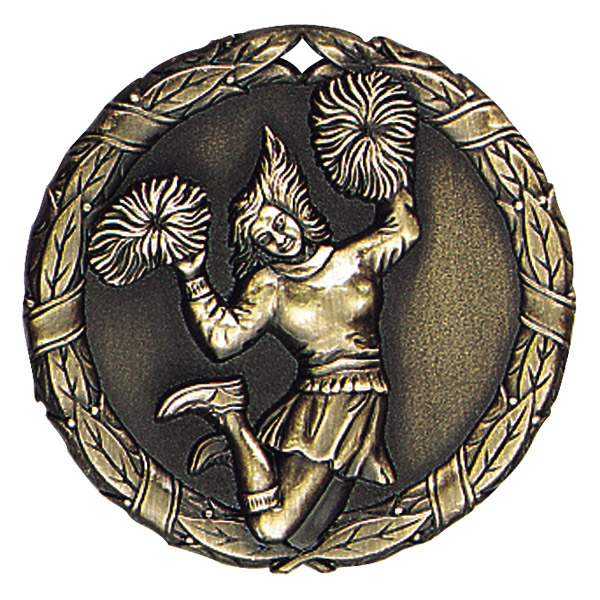 "2"" Cheerleader (female) Medallion - XR-227-NR"