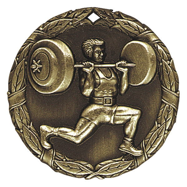 "2"" Weight Lifter Medallion - XR-266-NR"