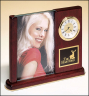 xxxRosewood Piano-Finish Desk Clock with Glass Picture Frame - BC19
