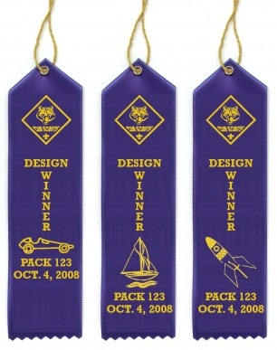 Custom Cub Scout Pinewood Derby, Raingutter Regattta and Space Derby Ribbons - SCOUTS