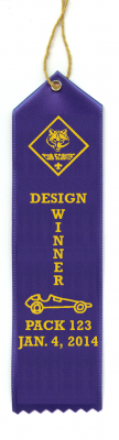 Custom Cub Scout Pinewood Derby, Raingutter Regattta and Space Derby Ribbons
